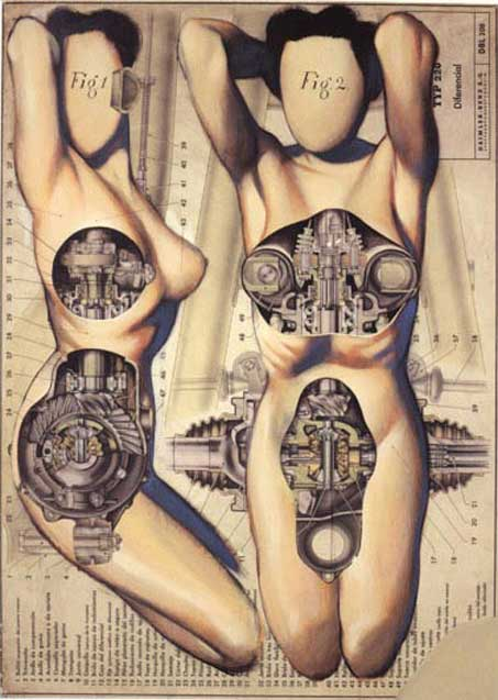 fernando vicente pinturas anatomias ciberneticas mecânico corpo