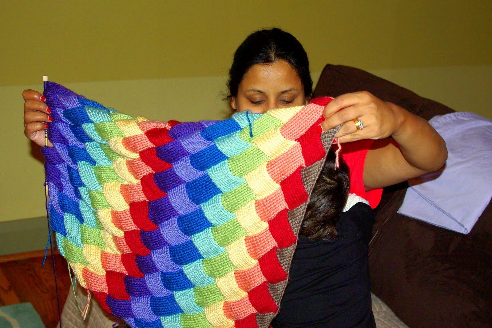 Knitting Pattern Rainbow Blanket : Rainbow Scrapbooks: DOUBLE RAINBOW!! (entrelac rainbow ...