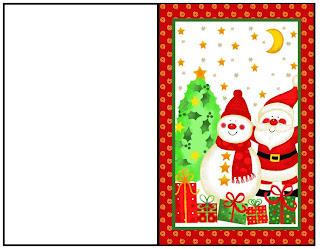 cartao de natal boneco de neve e papai noel