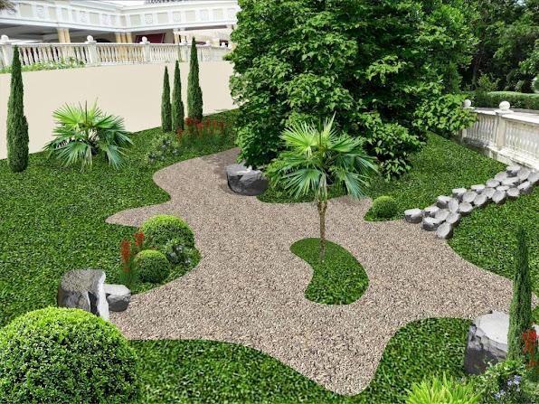 diseño jardín isleta - modelo jardín romano italiano