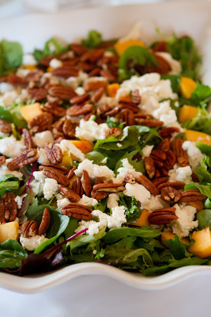 Wedding Brunch Reception - Warm Goat Cheese Salad with Field Greens, Pecans, Peaches, and Balsamic Vinaigrette - Photo Courtesy of Brian Samuels Photography