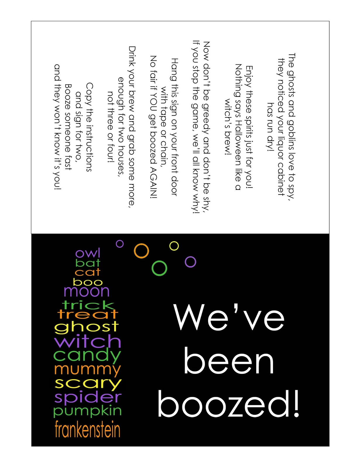 photograph relating to You've Been Boozed Printable named The Larson Lingo: Weve been BOO-zed
