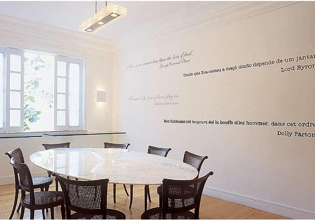 Letra De Sala De Jantar ~ Na parede da sala de jantar, trechos de clássicos da literatura