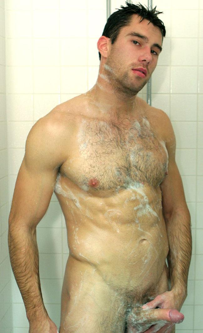 Naked men showering