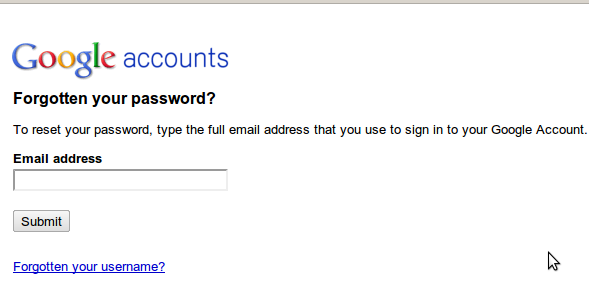 cant reset google email password