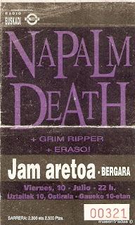 entrada de concierto de napalm death