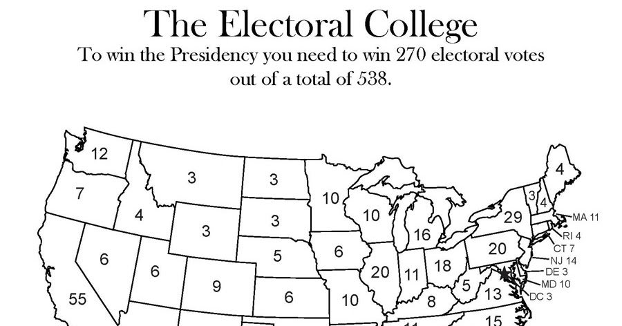 Vote  Presidential Election Coloring Book US Electoral - Us map electoral to color