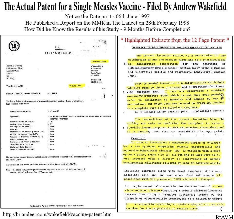 Il brevetto depositato da Wakefield