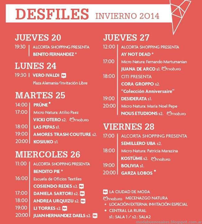 Cronograma Calendario de Desfiles Bafweek otoño invierno 2014. Semana de la Moda en Buenos Aires, colecciones otoño invierno 2014.