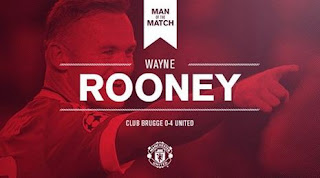 Rooney Man of the Match Brugge vs Manchester United 0-4
