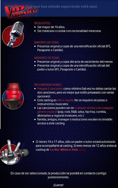 Requisitos Para el Casting de Adultos La Voz México 2016