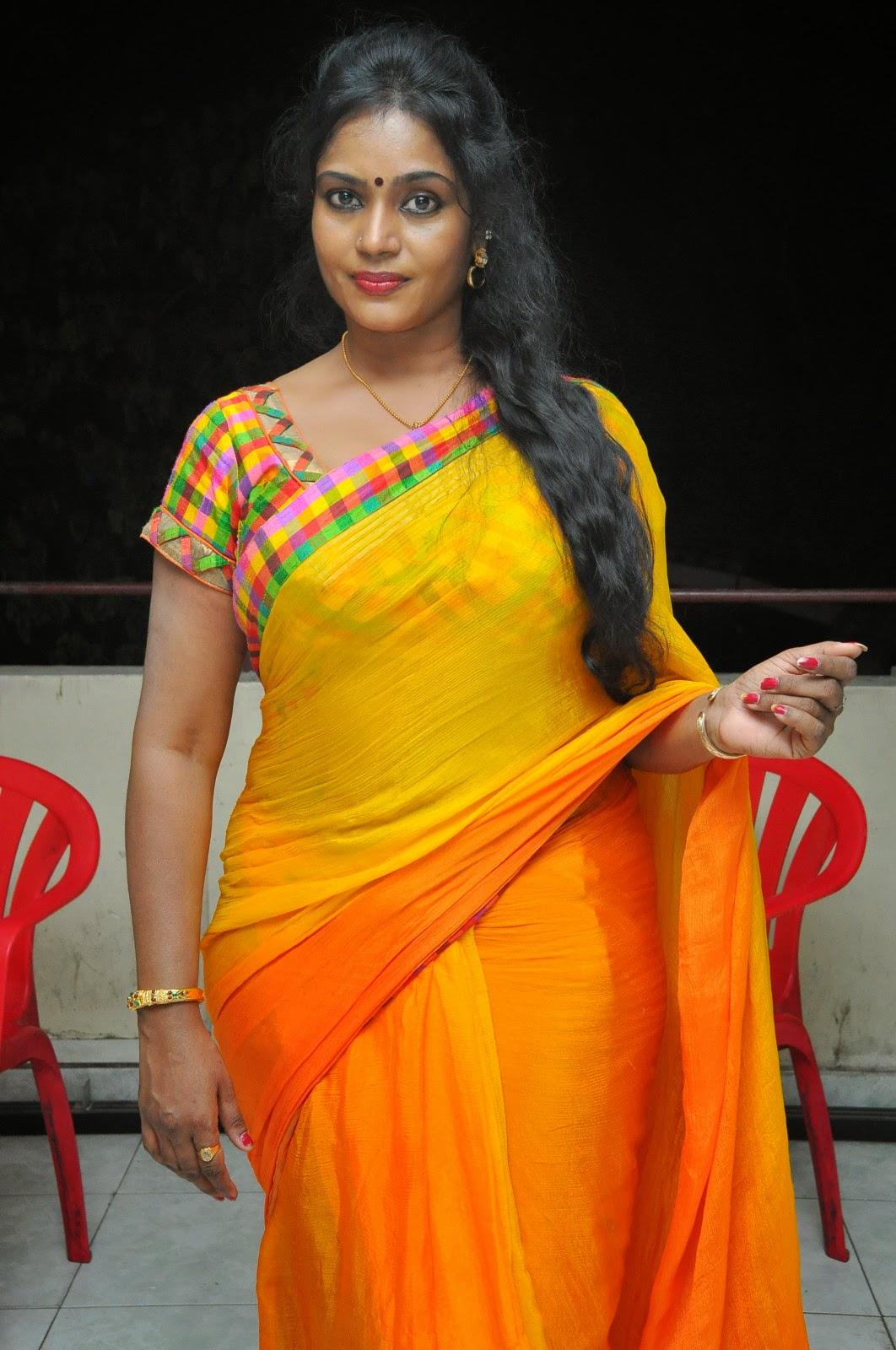 Jayavani glam pics in saree-HQ-Photo-14