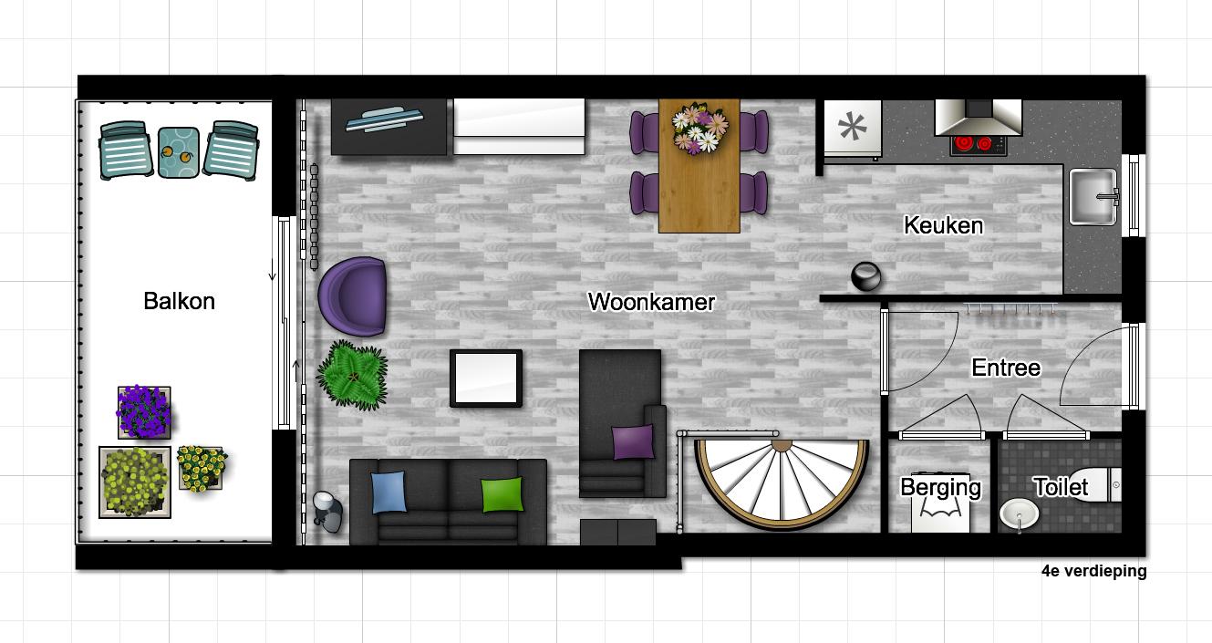 Eenvoudige plattegrond tekenen for 3d tekenen op computer
