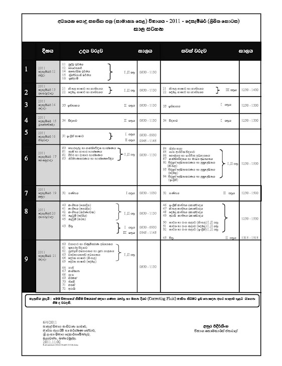 G.C.E.(O/L) 2011 Time Table