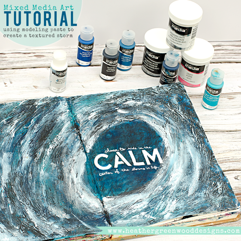 step by step tutorial using DecoArt Media fluid acrylics and modeling paste to create a hurricane storm with texture