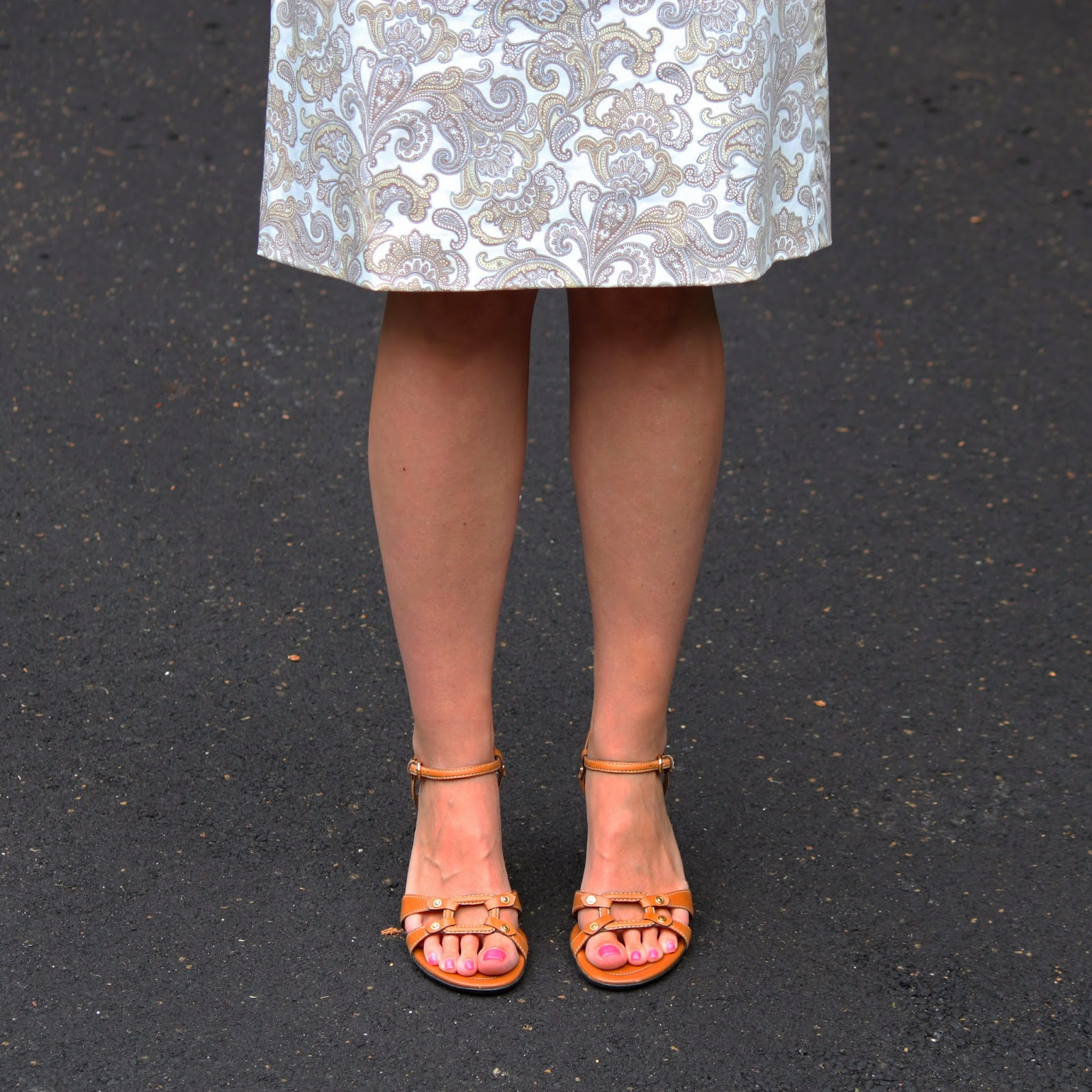 Tan Sandals + Paisley Skirt // The Salty Hanger