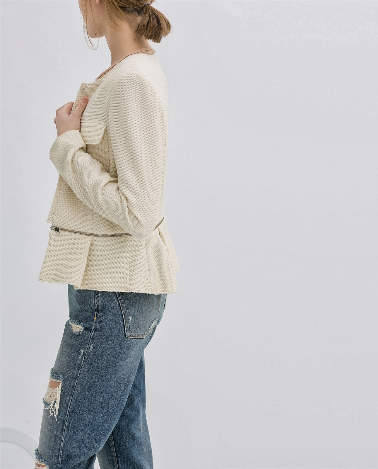 cream zara jacket