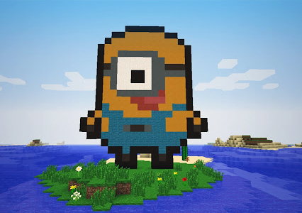 Minion pixel art minecraft building idea
