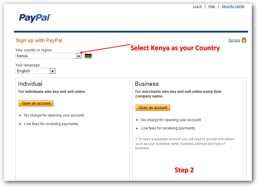 open an account with paypal