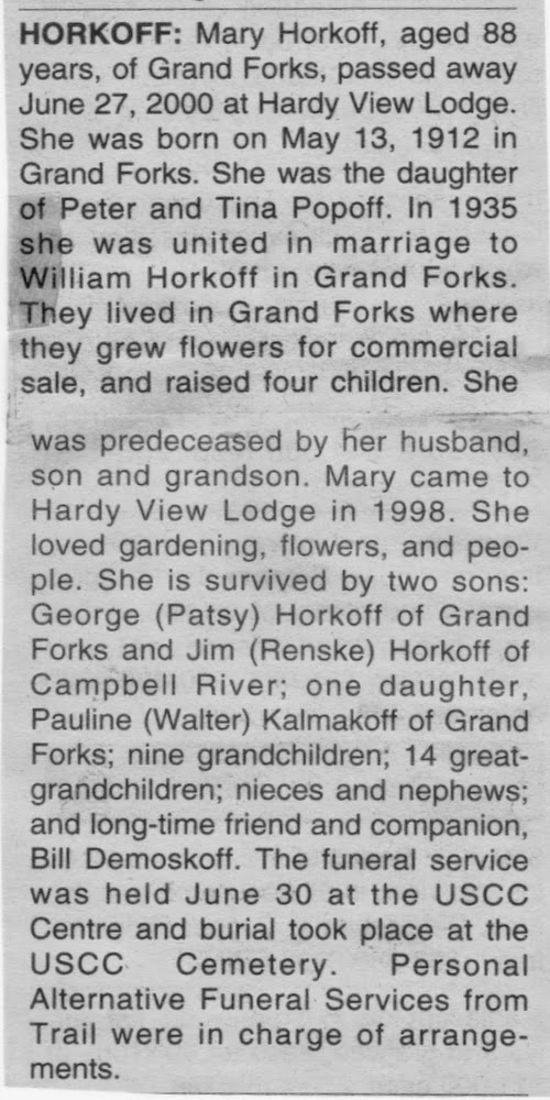 Obituary of Mary Horkoff