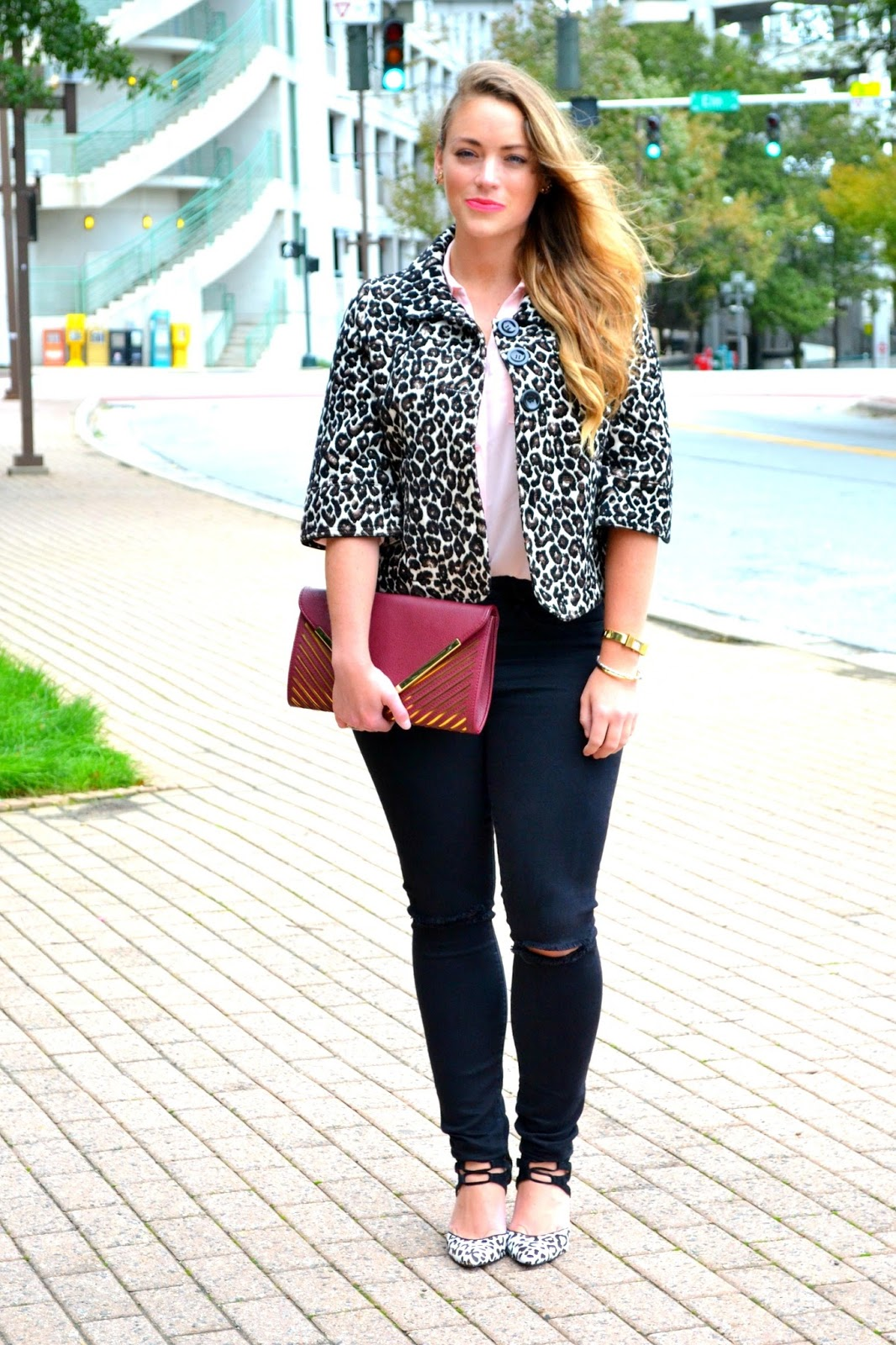 Leopard Shoes Heels Brittany Ann Courtney Blazer Black Ashton Blouse Jacket Old From Forever21 Similar Here Cute Ripped Jeans Also Love The Fit Of These Maroon