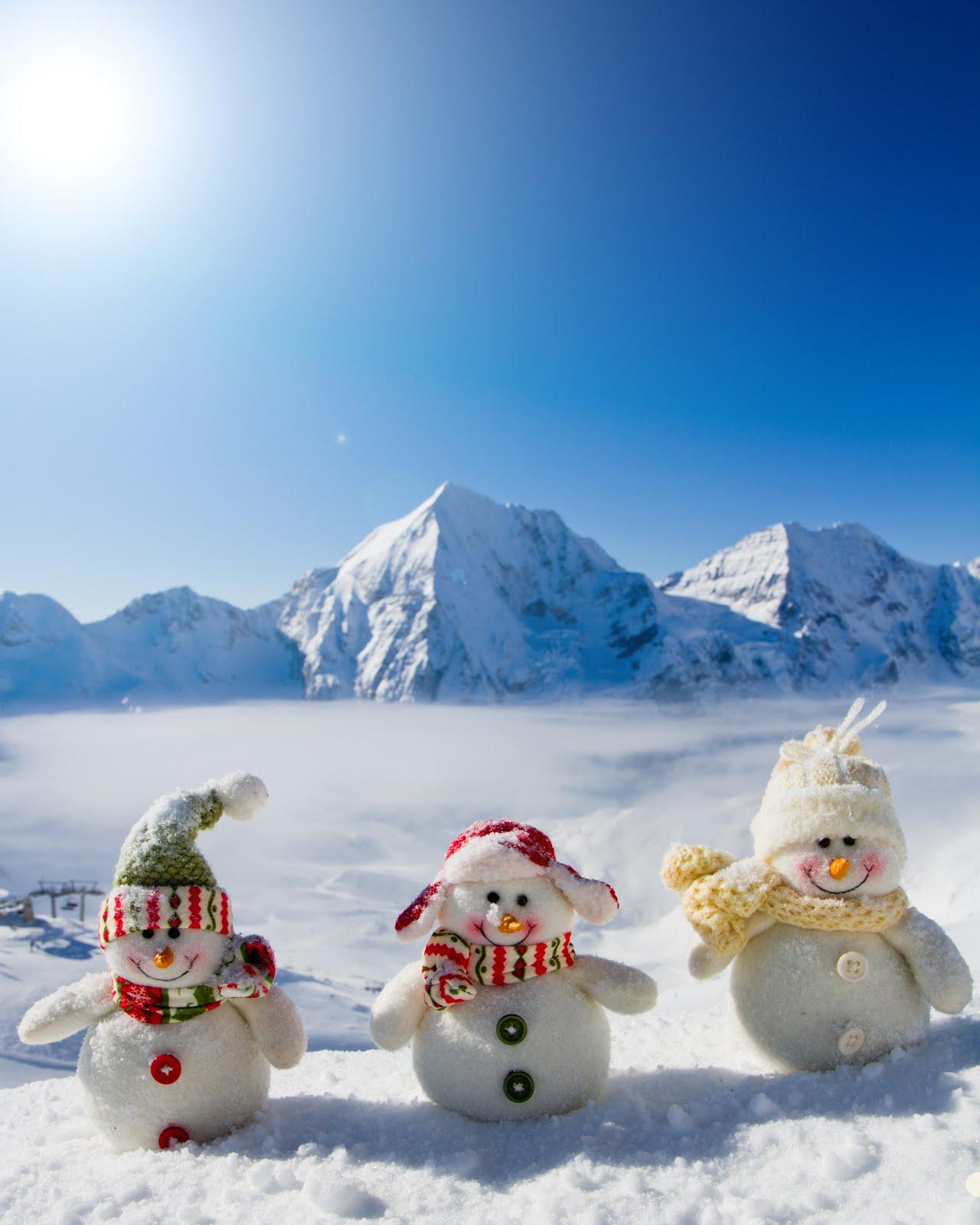 Banco de im genes postal navide a con mu ecos de nieve for Figuras de nieve navidenas