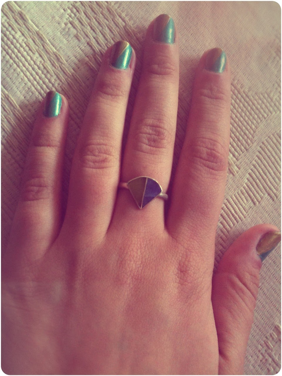 Two-tone Nails / Gold and Teal | The Price of Tea