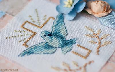 вишивка голуб і хрест, вітання з хрестинами