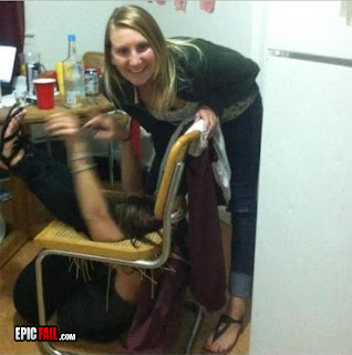 girl stuck in chair funy