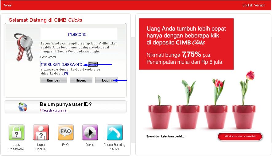 Cara Login CIMB Cliks Internet Banking