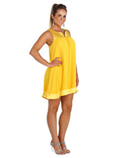 modelo de vestido amarelo tipo batinha - fotos e dicas