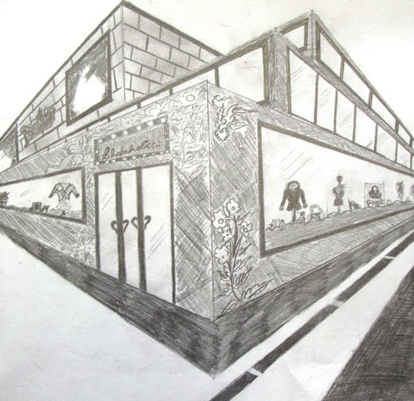 Art at woodstock drawing and painting 2 point perspective for Exterior 1 point perspective
