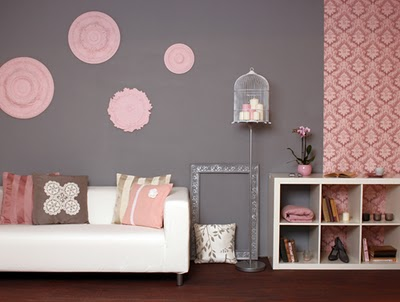 Cute pink grey bedroom ideas on pinterest for Living room ideas pink and grey