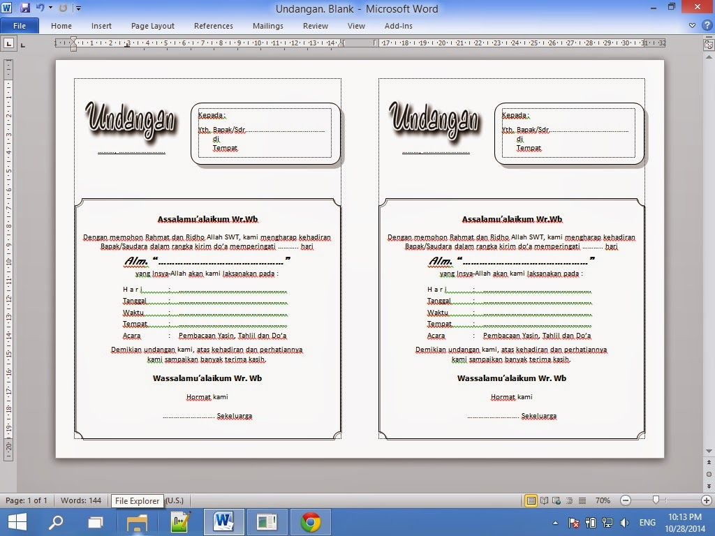 Contoh Undangan Tahlil File Microsoft Word | Toriqoel Blog