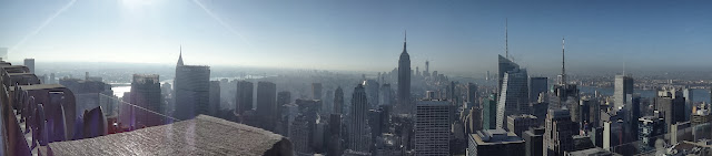 Panaroma view of Empire State Building and other skyscraper buildings in the downtown of Manhattan, New York, USA