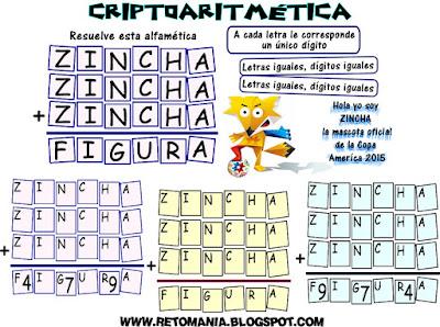 Criptoaritmética, Criptosumas, Alfaméticas, Problemas alfaméticos, Problemas matemáticos, Desafíos matemáticos, Retos matemáticos, Descubre los números, Juego de letras