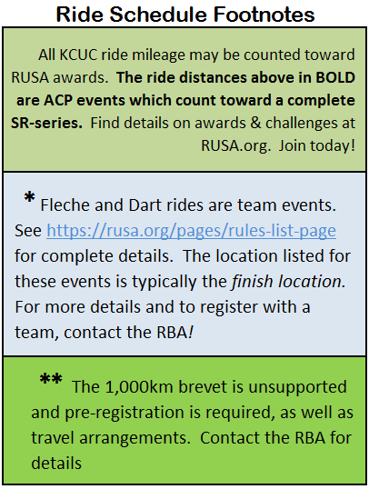 Ride Schedule Footnotes: