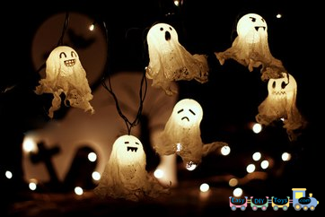 Handmade Halloween ghosts for decorations
