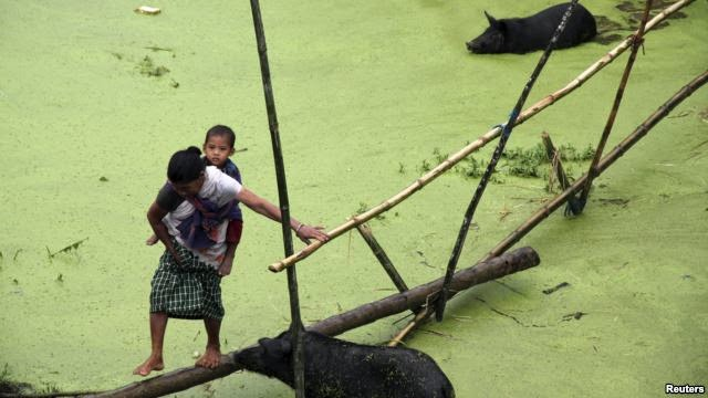 A villager carrying a child crosses a flooded area in the Jorhat district, in the Indian state of Assam, August 25, 2014, where the latest heavy rains have caused landslides and floods. (Credit: Reuters) Click to enlarge.