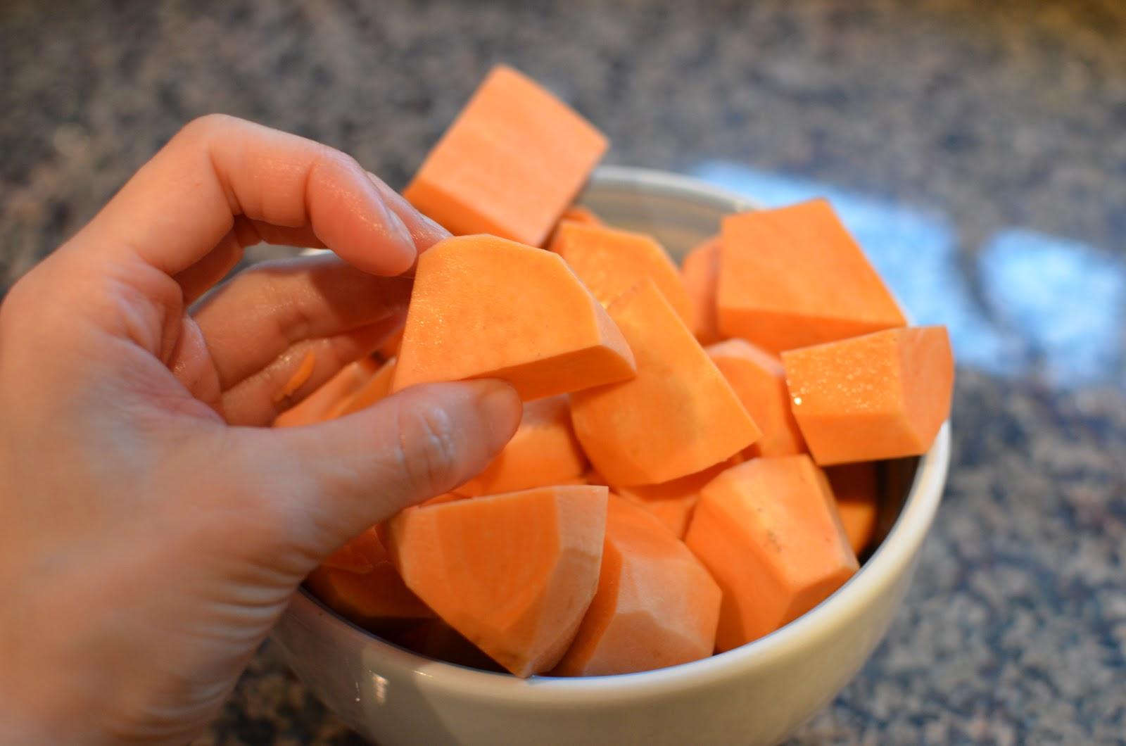how to prepare sweet potato chunks
