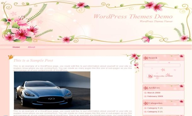 Free Girls Pink Floral Wordpress Theme Template