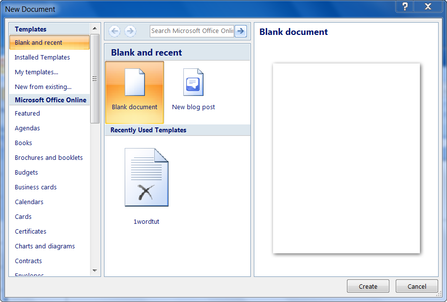 New Document Window of MS Word 2007