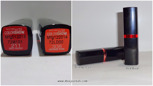 Maybelline Color Show Lipsticks-Red Rush & Orange Icon Reviews
