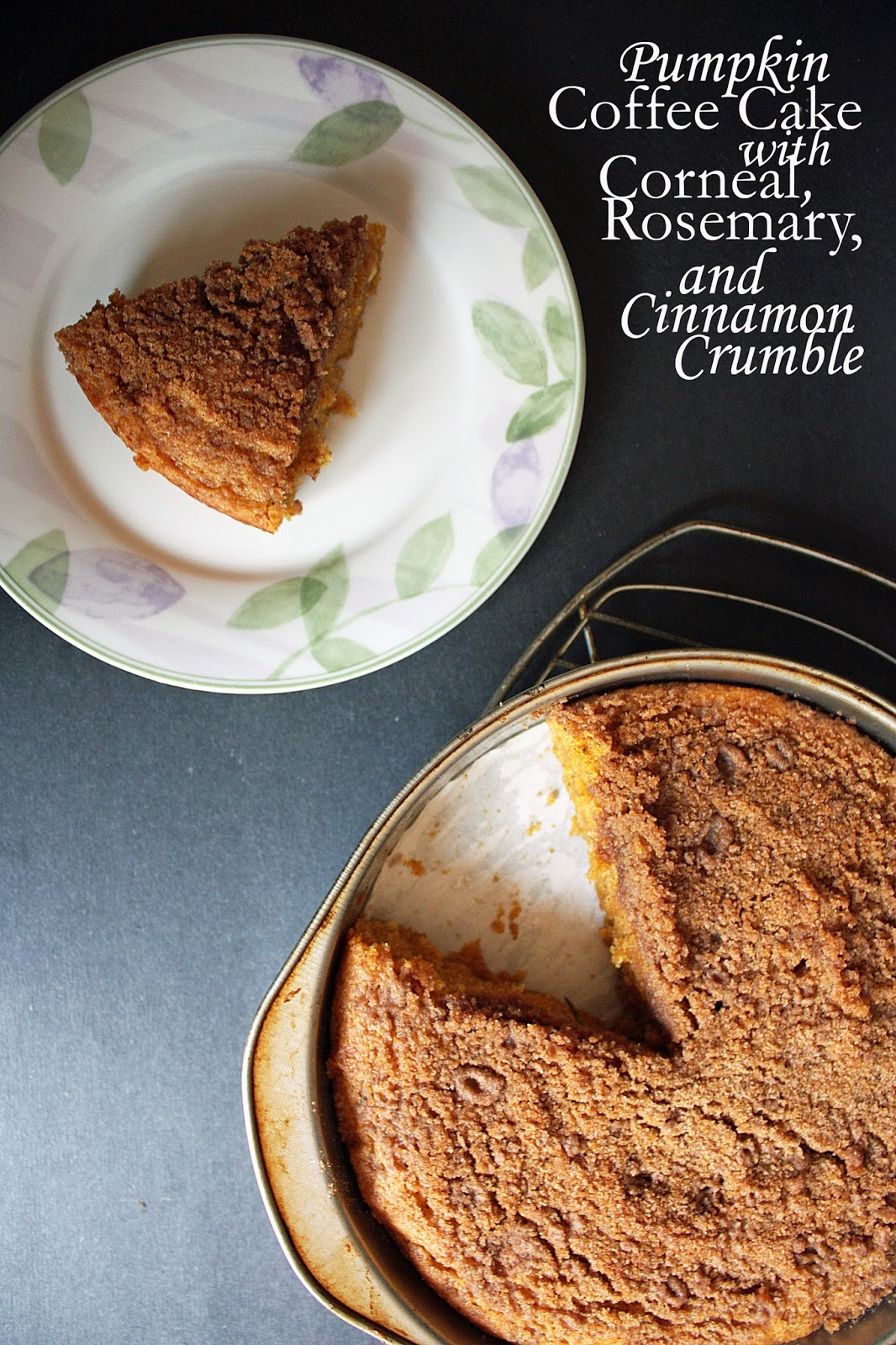 pumpkin coffee cake with rosemary, cornmeal, and cinnamon crumble