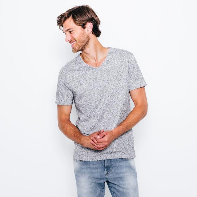 jules t-shirt gris chiné col v