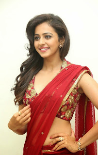 Actress Rakul Preet Singh  Pictures in Red Saree at Tiger Audio Release Function  87.JPG