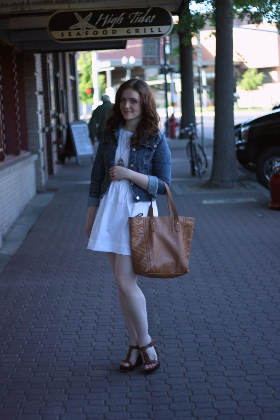 How to Wear DIY: Patriotic white dress and blue jean jacket ...