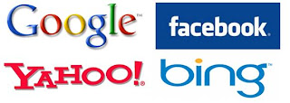 Search Engines, Google, Yahoo, Bing, Facebook