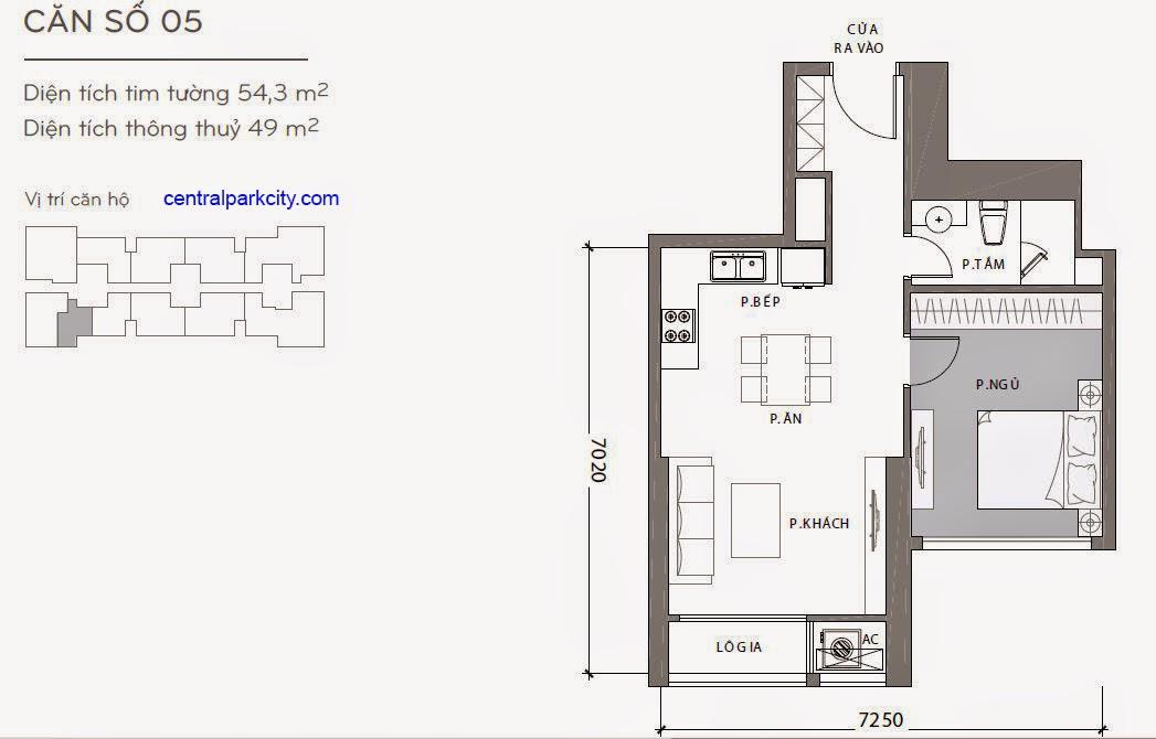 Căn hộ Landmark 1 - kiểu nhà số 05 - 54.3m2 - 1PN