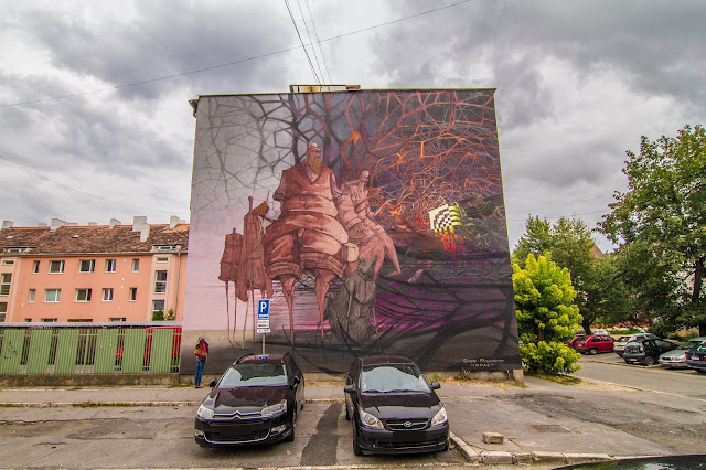 Street Art By Roem and Sepe in Kosice, Slovaka For SAC Festival landscape view with cars